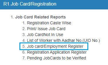Job card/Employment Register